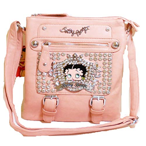 Betty Boop Pink Leather - Betty Boop bling coal pink cross-body messenger bag Rhinestone pockets dual bags