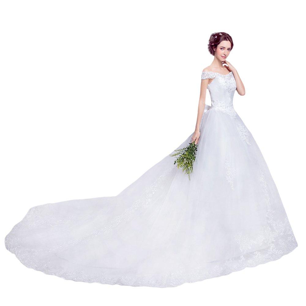 AIKOSHA NETWORK ブライダル ウェディングドレス & フラワーヘアアクセサリー のセット商品 ロングトレーン エレガント ハッスルライン かわいいリボン B00Y1E3SUA XXL|ホワイト ホワイト XXL