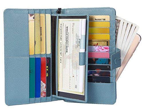 AINIMOER Women's Big RFID Blocking Leather Zip Around Wallets for Womens Clutch Organizer Checkbook Holder Large Travel Purse(Lichee Gray Blue) -