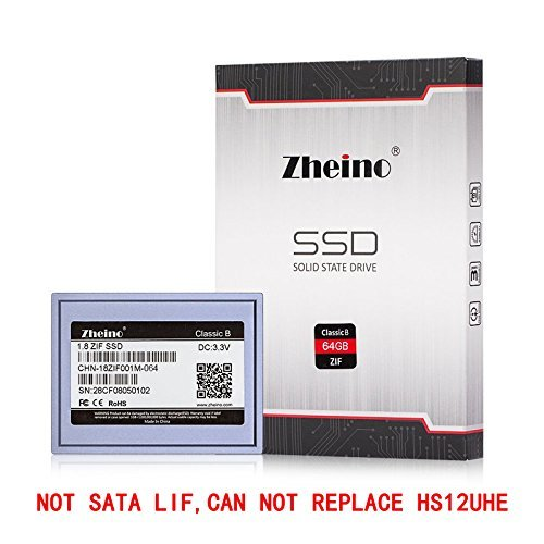 Zheino 1.8 Zif Ce 40Pins 64GB SSD Solid State Drive For DELL D420 D430 Inspiron Mini 12, iPod Video Classic CHN-18ZIF001M-064