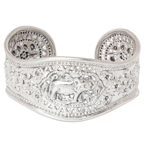 NOVICA .925 Sterling Silver Cuff Bracelet 'Precious She-Elephant' by NOVICA (Image #4)