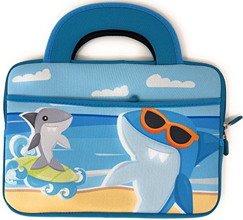 Blue Joy Shark 10 inch Kids Tablet Case Bag Tote Portable Universal Neoprene Carrying Case Dual Handles Boy Girl Zipper Sleeve Front Pocket Compatible Size for Fire HD 8 (10 Inch, Surf's Up)