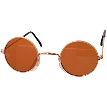 a62eda999d te-trend 70er Hippie Carnival Glasses Round Gold Brown Fancy Dress Costume  Accessories Party Glasses