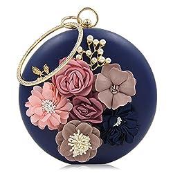 Milisente Women Clutch Bag Lady Clutches Purses Flower Bridal Bag (Blue)