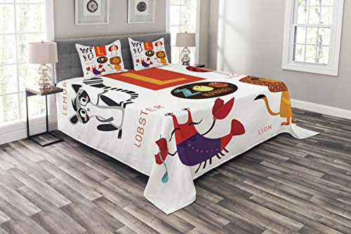 Lunarable ABC Bedspread, Zoo Alphabet in L Letter with Lobster Lion Ladybird Lemur Humor School My Name, Decorative Quilted 3 Piece Coverlet Set with 2 Pillow Shams, King Size, Multicolor