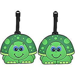 Animal Luggage Tags Cute Suitcase Labels (Set of 2) (Boy Turtle)