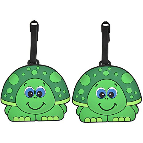 Animal Luggage Tags Cute Suitcase Labels (Set of 2) (Boy Turtle) (Animal Luggage Tag)