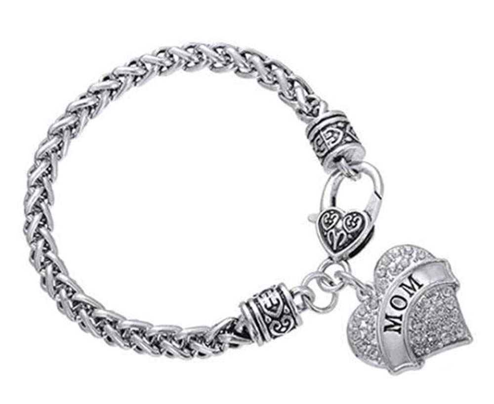 Charm Bling Crystal Cute Love Hearts Metal Pandent Bracelets Christmas Birthday for Family Members, Friends