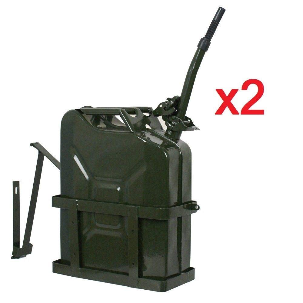 Clever Market Automotive Gas Tank Metal Jerry Can Fuel Steel Tank Holder Military Green NATO Army Solid Gasoline Tank 5 Gallon 20L Set 2 by Clever Market