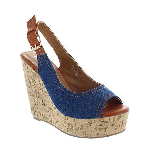 Urban Heels Womens Denim Peep Toe Platform Wedge 65 US