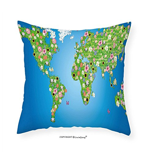 VROSELV Custom Cotton Linen Pillowcase Garden Daisy Lily Daffodil Poppy Botany Bouquet Featured World Map with Grass Concept for Bedroom Living Room Dorm Lime Green Blue - Victoria Gardens Map Stores