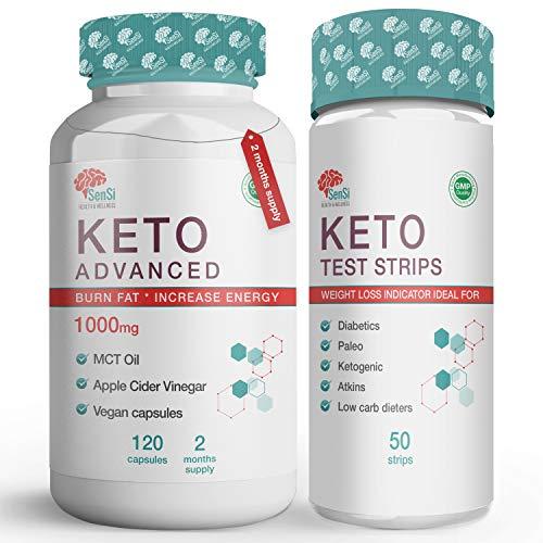 Keto Diet Pills Plus Ketosis Test Strips for Men & Women – 120 Ketogenic Weight Loss Pills – MCT Oil/Apple Cider Vinegar…