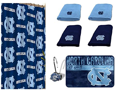 (NCAA North Carolina Tar Heels 18 Piece Bath Ensemble: Set Includes 1 Shower Curtain, 12 Shower Hooks, 2 Bath Towels, 2 Hand Towels, and 1 Bath)