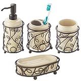 Bathroom Dispenser Sets InterDesign Twigz Bath Accessory Set, Soap Dispenser Pump, Toothbrush Holder, Tumbler, Soap Dish - 4 Pieces, Vanilla/Bronze