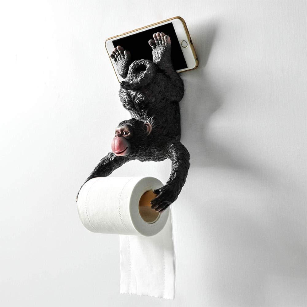FREEDROM Bagno Europeo Piccola Scimmia portarotolo portarotolo portarotolo Carta igienica portarotolo in Resina Carta da Parati Impermeabile Appeso a Parete