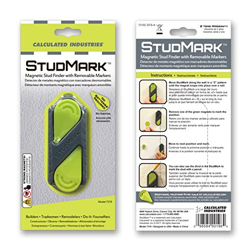 Calculated Industries 7310 StudMark Magnetic Stud Finder with 2 Removable Magnet Markers | Finds & Marks up to 3 Stud Locations | Powerful Rare Earth Magnets, No Batteries Needed by Calculated Industries (Image #1)