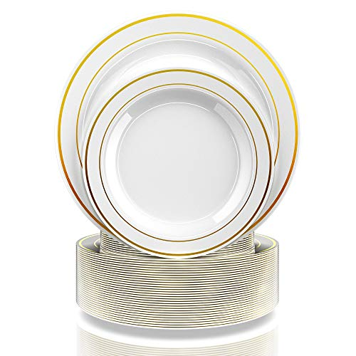 PB 120 Pieces for 60 guests, Set Elegant Disposable Plastic Plates Gold Rim White, 60- Dinner Plates, 60- Dessert Plates, Heavy duty Premium Plates for Party Wedding Appetizer Fancy, Reusable