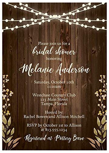 Rustic Bridal Shower Invitations Wood Autumn Wedding Party Invites Fall Lights Leaves Ivory Green Brown Country (10 Count)