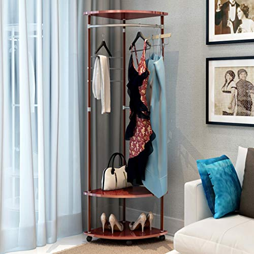 - HSada Coat Rack Stand - Super Easy Assembly NO Tools Required - Multi-Functional Corner Garment Rack Clothing Rack with Hanger and 2-Tier Durable Shelf for Shoes Clothes Storage - Ship from US