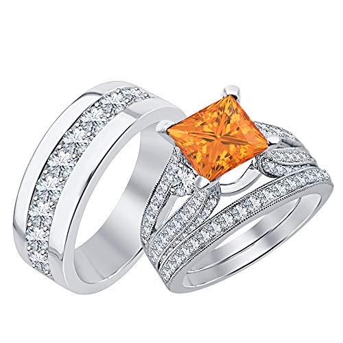 RUDRAFASHION Beautiful Wedding Halo Trio Ring Band Set Princess Cut 3.75 cttw Orange Sapphire & Dimaond 14k White Gold Plated .925 Sterling Silver for Men & Women's -