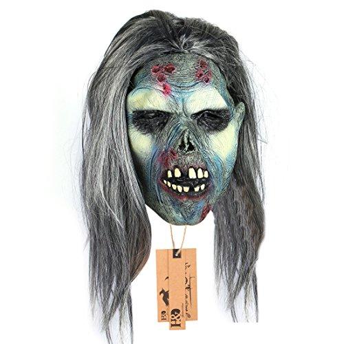 [YUFENG Creepy Scary Zombie Mask Latex Halloween Mask Scary Mask with Hair] (Rob Zombie Halloween Masks)