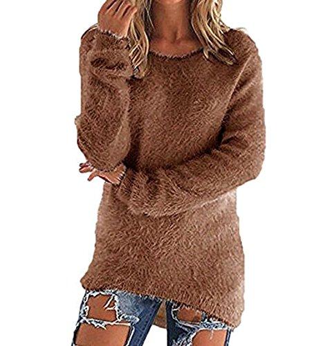 Newlife Casual Manica Maglioni Marrone Moda Sciolto Maglione Puro Donna Shirt Lunga Autunno T Top Maglietta Colore Blouses qqU7prnW