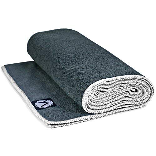 Youphoria Hot Yoga Towel, Non Slip, Super Absorbent, Plush Microfiber Yoga Mat Towel for Hot Yoga, Bikram and Yoga Mat Grip, Washable, 24 inches x 72 inches, Gray Towel/White Trim