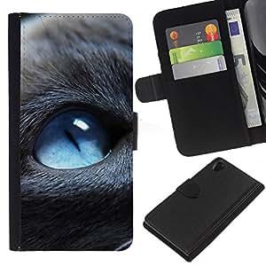 LECELL--Cuero de la tarjeta la carpeta del tirón Smartphone Slots Protección Holder For Sony Xperia Z2 D6502 -- Blue Eyed Cat --