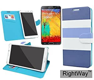 Rightway Stripes Wallet Folio Case for Galaxy Note 3 N9000 Book Style Case with 1 Screen Protector Film (Purple/Light Blue)