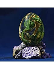 Lava Dragon Egg with Lava Base, Dream Crystal Transparent Resin Dragon Egg, Realistic Lava Dragon is About to Be Born from The Egg (Green)