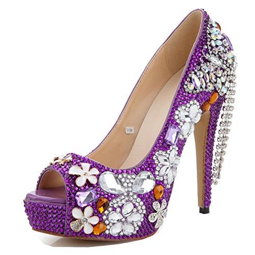 rhinestone Comfort Zapatos Sandalias Fall Mujer Boda Alto Peep Noche yc Y Tacón Sparkling Summer Pu Fiesta L Purple De Toe S4Zw5q
