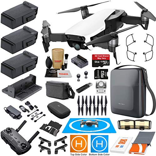 DJI Mavic Air Fly More Combo (Arctic White) Touring Bundle with 3 Batteries, 4K Camera Gimbal, PGYTECH Carrying Case and Must Have Accessories