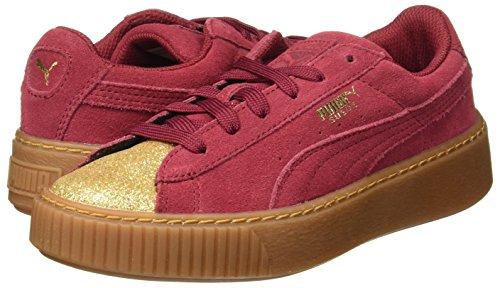 tibetan Unisex Rojo Jr Platform Suede Gold Red puma Zapatillas Puma Niños Glam Xpvwwq