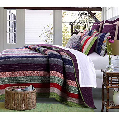 3pc French Country Woven Striped Theme Quilt King Set, Colored Stripe Bedding, Vintage Vertical Paisley Scroll Stripes Solid Plum Purple, Dark Navy Blue Pink Red - Scroll Woven Paisley