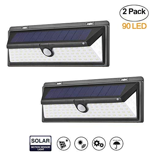 2 Packs Solar Lights Outdoor,Waterproof 90 LED Solar PIR Motion Sensor Wall Light Wireless Security Night Lighting with Easy Install for Patio, Deck, Yard, Garden, Fence, Driveway, Garage(2-Pack) For Sale