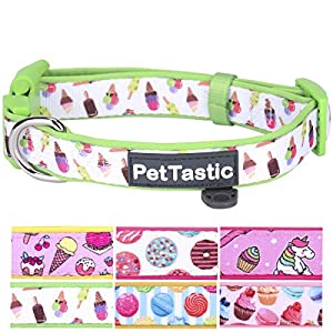Best Adjustable Small Dog Collar - PetTastic Durable Soft & Heavy Duty with Cute Sweet Dessert Design, Outdoor & Indoor use Comfort Dog Collar for girls, boys, puppy, adults, including ID Tag Ring