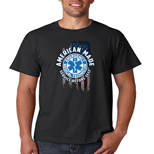 EMT T Shirt Service Before Self American Made Mens Tee S-5XL (Black, M) (American Made Tee Shirts)
