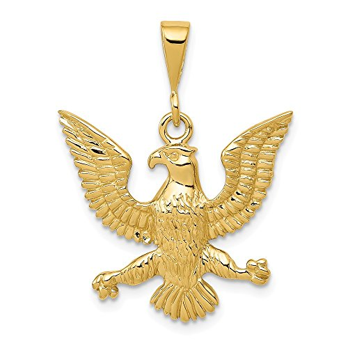 FB Jewels Solid 14K Yellow Gold Eagle Charm ()