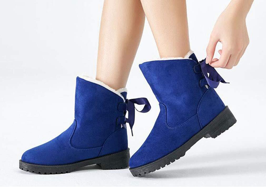 Hy Frauen Stiefelies, Warm Winter Baumwollschuhe, Damen Plus Kaschmir Warm Stiefelies, Winddicht jetzt Stiefel, große Größe Stiefeletten Outdoor-Übung Snowsports Ski-Schuhe (Farbe   Blau, Größe   5) baac80