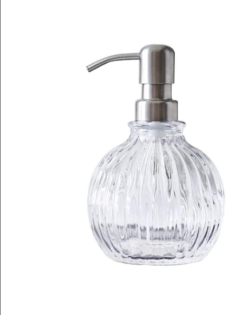 Bomba La Botella Redonda de Vidrio retornables Que Hace Espuma de jabón dispensador de la Bomba de tocador de baño encimera, Fregadero de la Cocina - Guardar el jabón Botella de loción: