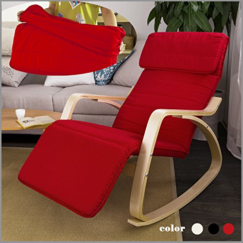 Haotian Comfortable Relax Rocking Chair With Foot Rest Design, Lounge Chair,  Recliners Poly Cotton Fabric Cushion ,FST16 R,Red Color