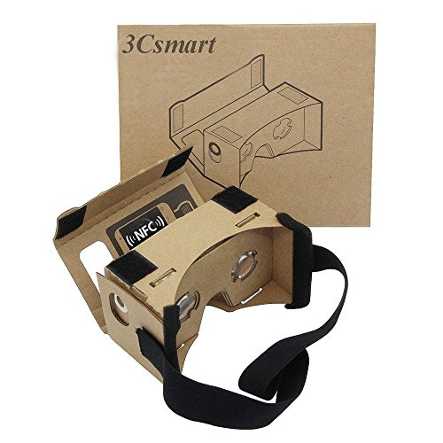 "3Csmart Cardboard Kit 3D VR Virtual Reality DIY Glasses with NFC and Headband for 3D Movies and Games Compatible with 3.5""-5"" Screen"