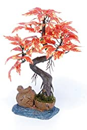 Pennplax Red Bonsai Tree Aquarium Decor, 8-Inch