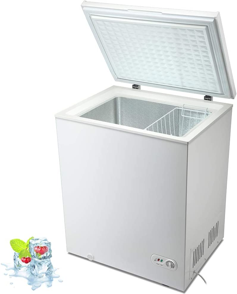 Kismile 5.0 Cubic Feet Chest Freezer with Removable Basket Free Standing Top open Door Compact Freezer with Adjustable Temperature for Home/Kitchen/Office/Bar (5.0 Cubic Feet, White)