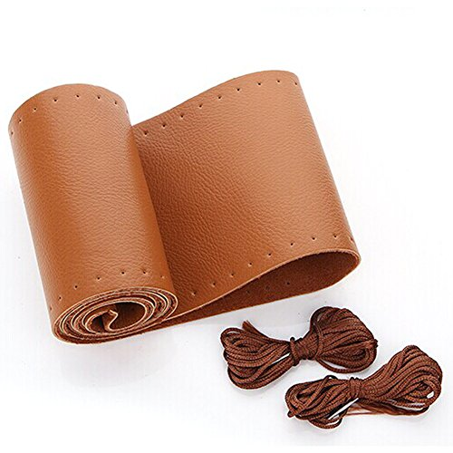 AULLY PARK Universal Car Steering Wheel Cover Genuine Leather Stitch On Wrap (Size M, Brown) Brown Leather Wrapped Handles