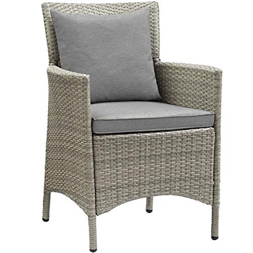 Modway EEI-2802-LGR-GRY Conduit Outdoor Patio Wicker Rattan Dining Armchair in Light Gray