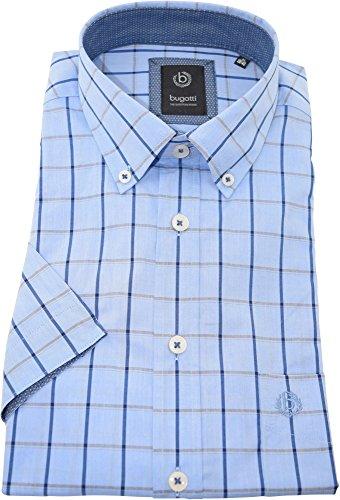 bugatti Hemd regularfit blaues Karohemd halbarm Button-Down Kragen mit Tasche Kollektion Size M
