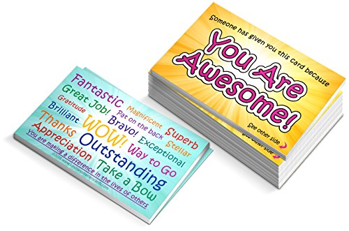 You are Awesome Cards - Box of 100 - Appreciation Cards for Teachers, Employers, Friends, Co-Workers, Family -