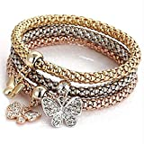 3Pcs/set Crystal Butterfly Bracelet & Bangle Jewelry Women