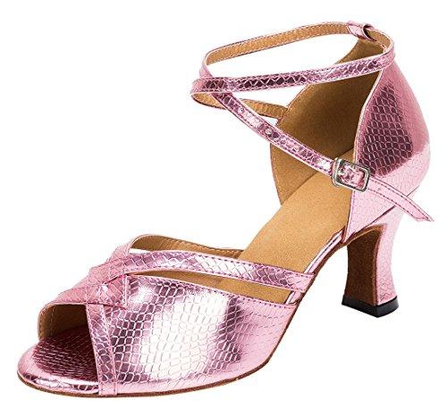 Tda Femmes Mode Cheville Bracelet Peau De Serpent Synthétique Salsa Tango Latin Moderne Danse Chaussures De Mariage 7cm Talon Rose